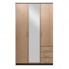 Шкаф 3-х дверный — 3 ящ «Камелия» Венге/Бел.дуб с зеркалом
